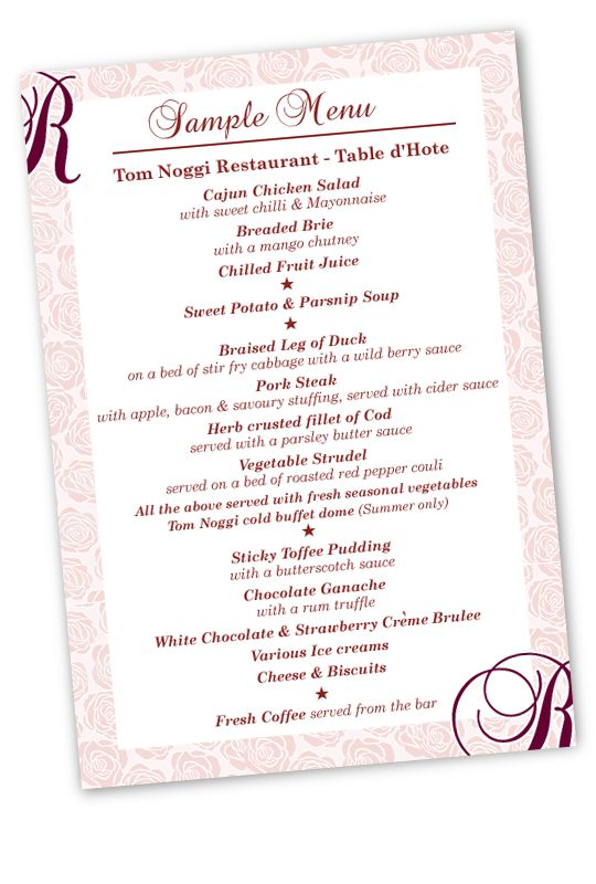 Sample menu card of table d'hote